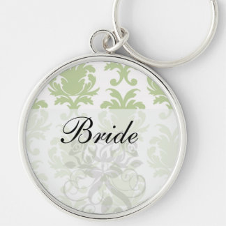 sage green bold large damask pattern Silver-Colored round keychain