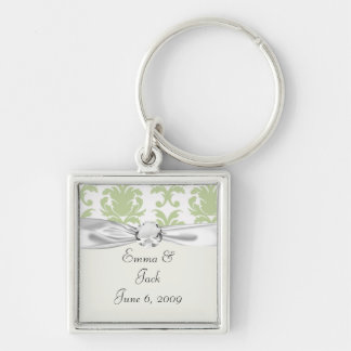 sage green bold large damask pattern Silver-Colored square keychain