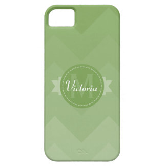 Sage Green Chevron Name Monogram Initial iPhone 5 Case