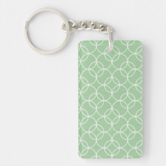 Sage Green Circle Pattern Single-Sided Rectangular Acrylic Keychain