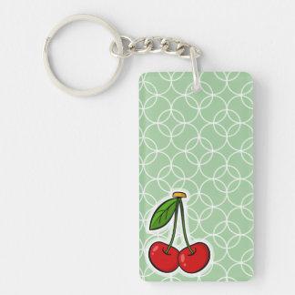 Sage Green Circles; Cherries Double-Sided Rectangular Acrylic Keychain
