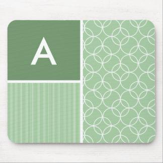 Sage Green Circles; Circle Mouse Pad