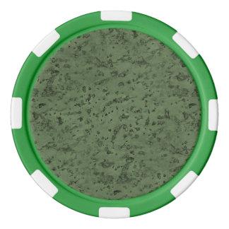 Sage Green Cork Look Wood Grain Set Of Poker Chips