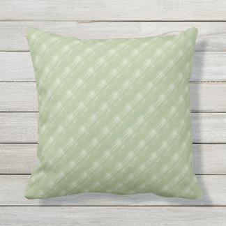 Sage Green Cream Diagonals Outdoor Pillow 16x16