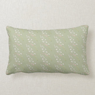 Sage Green, Cream, Rose Flecked Lumbar Pillow
