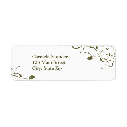 Sage Green Floral Decal Return Address Label