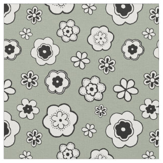 Sage Green Floral Pattern Fabric