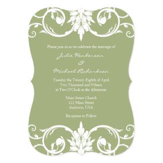 Sage Green Floral Swirl Bracket Wedding Invitation