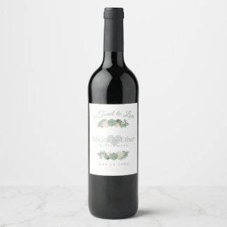Sage Green Flowers & White Wood Wedding Wine Label