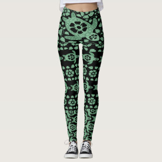 Sage Green Hawaii Sea Turtles Leggings