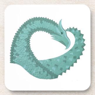 Sage green heart dragon on white coaster