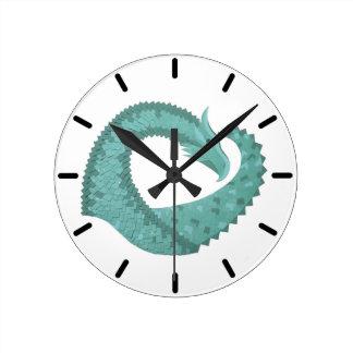 Sage green heart dragon on white round clock