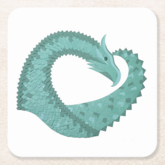 Sage green heart dragon on white square paper coaster