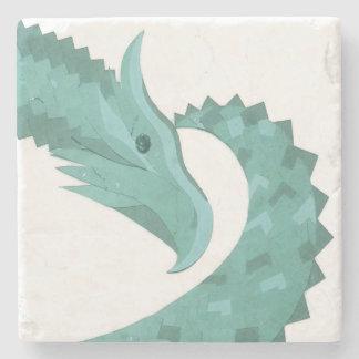 Sage green heart dragon on white stone coaster