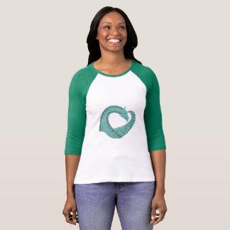 Sage green heart dragon on white T-Shirt