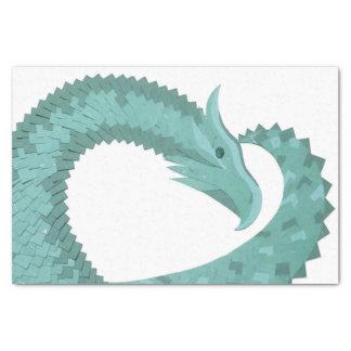 Sage green heart dragon on white tissue paper