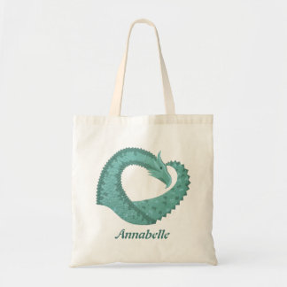 Sage green heart dragon on white tote bag