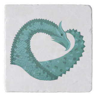 Sage green heart dragon on white trivet