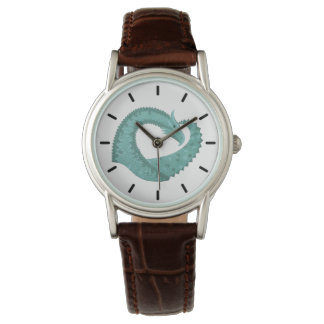 Sage green heart dragon on white watch