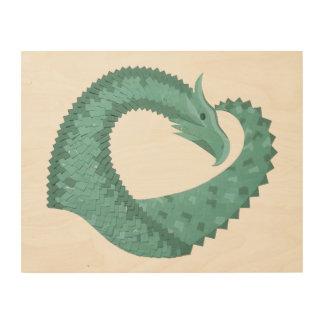 Sage green heart dragon wood print
