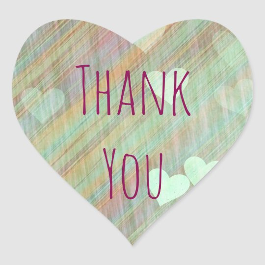 Sage Green Hearts Thank You Sticker
