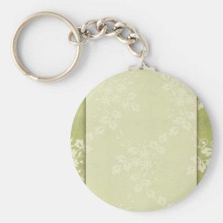 Sage green lace basic round button keychain