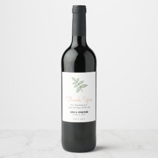 Sage Green Leaf, Coral Accent Wedding Thank You Wine Label