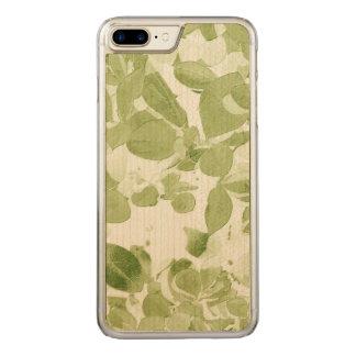 Sage Green Leaf Pattern, Vintage Inspired Carved iPhone 7 Plus Case