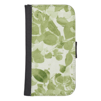 Sage Green Leaf Pattern, Vintage Inspired Samsung S4 Wallet Case