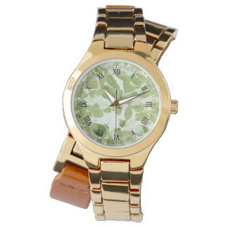 Sage Green Leaf Pattern, Vintage Inspired Watch