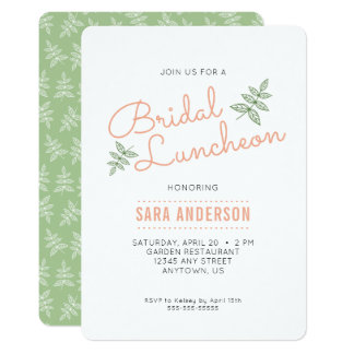 Sage Green Leaves and Coral Bridal Luncheon Card