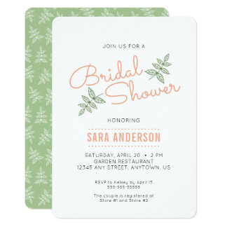 Sage Green Leaves and Coral Bridal Shower Invite