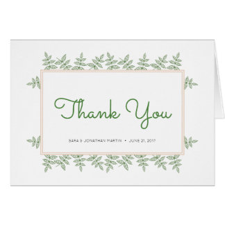 Sage Green Leaves Coral Border Thank You Card