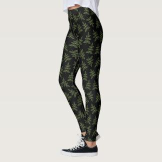 Sage Green Leaves Pattern on Black Leggings