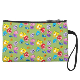 Sage Green Multi Rainbow Mini Scatter Flowers Suede Wristlet
