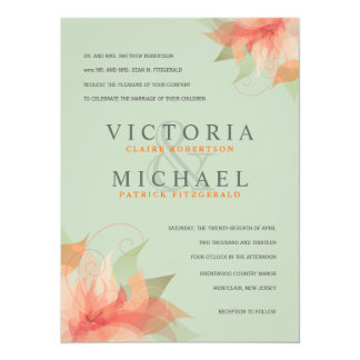 Sage Green & Orange Formal Wedding Invitations