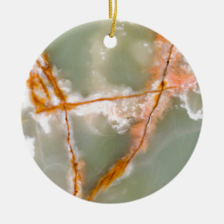 Sage Green Quartz with Rusty Veins Ceramic Ornament