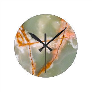 Sage Green Quartz with Rusty Veins Round Clock