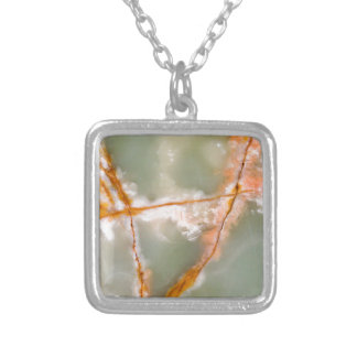 Sage Green Quartz with Rusty Veins Silver Plated Necklace