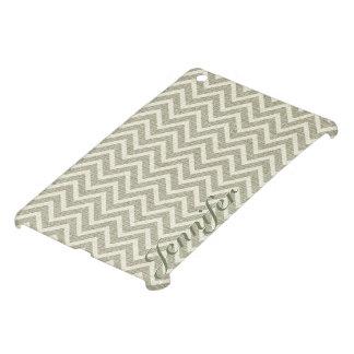 Sage Green Retro Chevron Pattern Linen Texture iPad Mini Cover