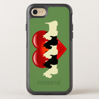 Sage green, Scottish Terrier dog, red heart OtterBox Symmetry iPhone 8/7 Case