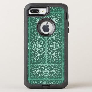 Sage green scrollwork pattern OtterBox defender iPhone 8 plus/7 plus case
