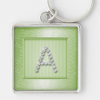 Sage Green Shimmer and Sparkle with Monogram Silver-Colored Square Keychain
