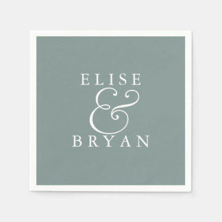 Sage Green Simple Modern Elegant Wedding Napkin