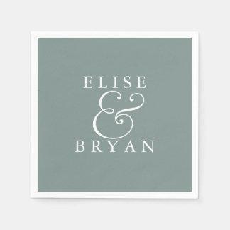Sage Green Simple Modern Elegant Wedding Napkin Paper Napkin