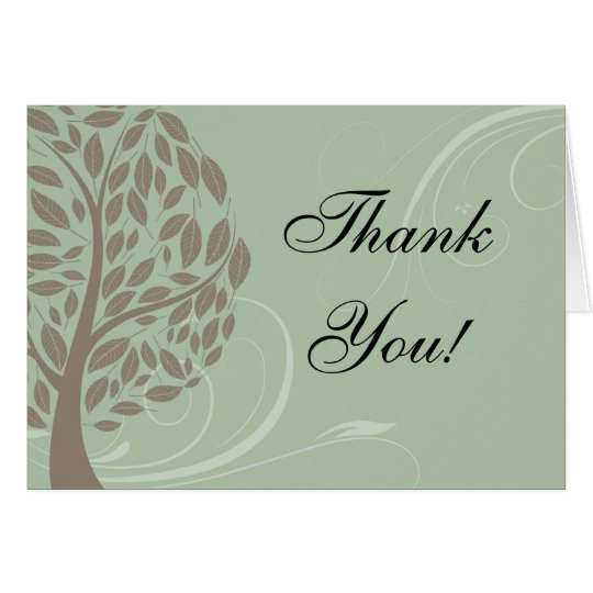 Sage Green, Soft Brown Stylized Eco Tree Thank You Card