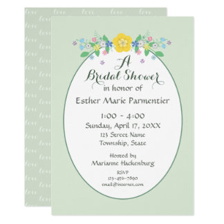 Sage Green Spring Flowers Bridal Shower Invitation