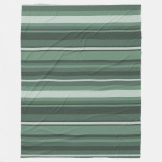 Sage green stripes fleece blanket