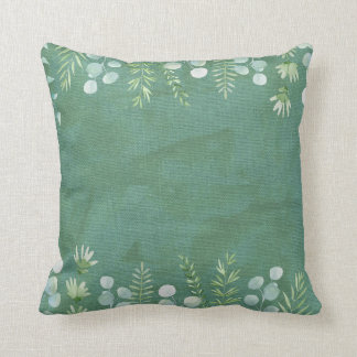 Sage Green Throw Pillow Watercolor Leaves Delicate