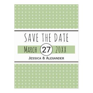 Sage green typography wedding Save the Date Postcard